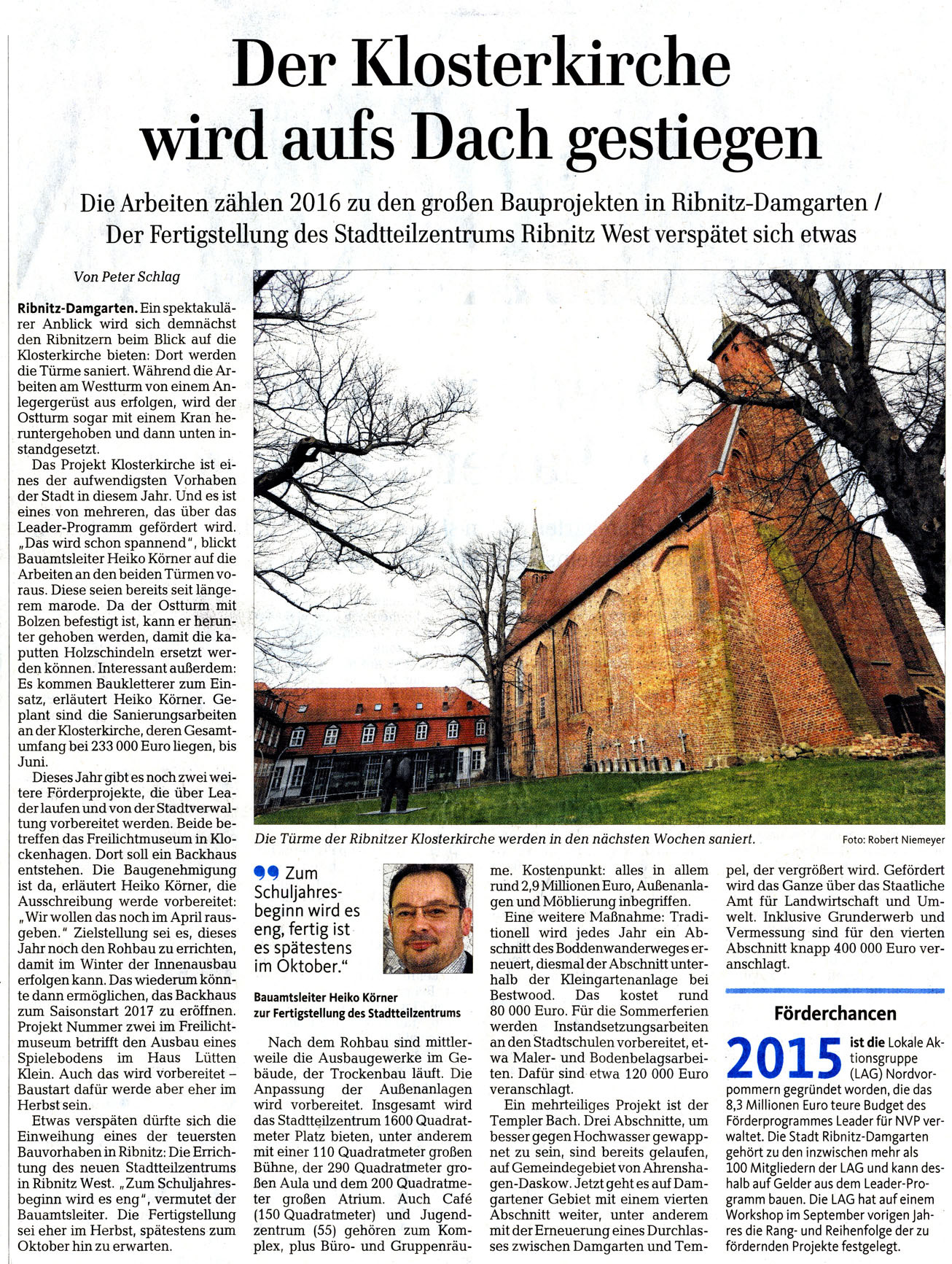 Ostseezeitung 9./10. April 2016
